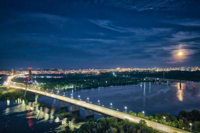 Вечерний Киев_3 ночной пейзаж ночное небо Киев город Луна Днепр река мост