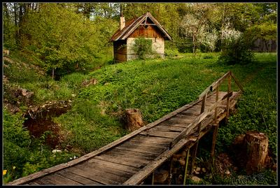 Уголок тихих тропинок уголок тропинка мостик избушка Латвия