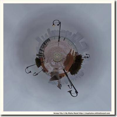 Возвращение блудного фонаря Джерси Сити Гудзон Манхеттен Нью-Йорк туман дождь панорама сферическая планета глобус