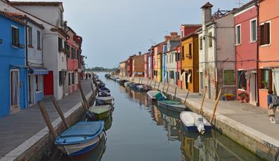 Итальянские впечатления . Бурано Италия Бурано Каналы Лодки Весна