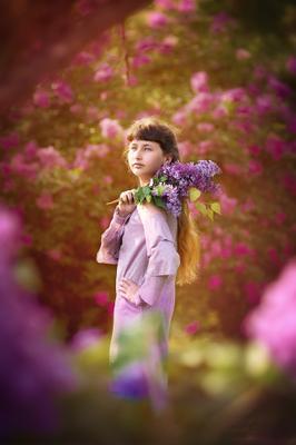 Сирень девушка красивая портрет платье сирень парк город