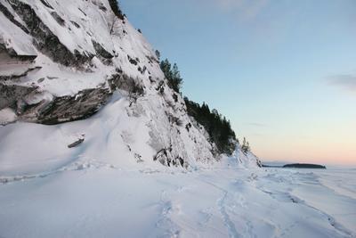 По заливу до Питкуля. белое море, залив, зима, снег, гора, осторов, море, льды