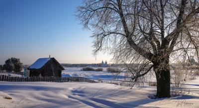 Морозное февральское утро утро мороз февраль дунилово изба дерево