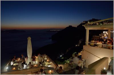 Тихий вечер в Фире Санторини Фира закат