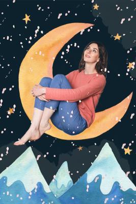 illustrator`s portrait рисование иллюстрация художник девушка женщина луна мечта