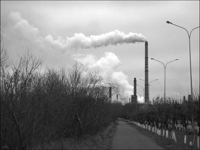 Дорога на завод Завод Казахстан дым