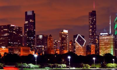 Chicago. Мегаполис город ночной Чикаго панорама