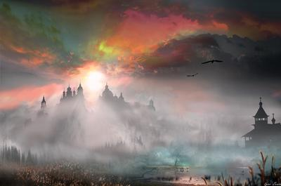 Вечер Вечер туман церковь