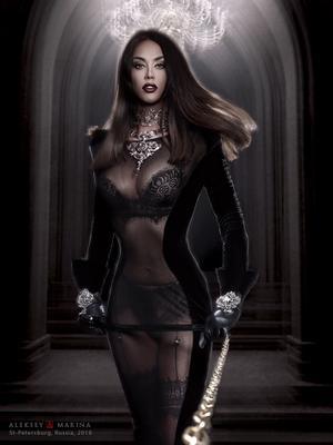Black Magic. Прогулка. женщина чёрный сексуальность власть доминирующий шик прогулка цепь зверь мрак магия чары украшение прозрачное платье