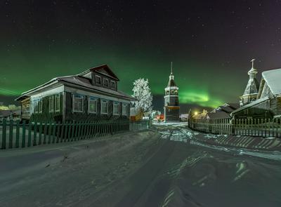 *** Архангельская область деревня русский север церковь северное сияние Конецдворье