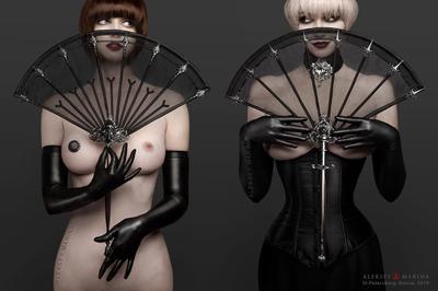 Black Magic. Два веера. декаданс веер чёрный магия костюм женщина корсет тайна взгляд