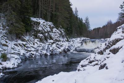 Кивач кивач водопад река карелия природа зима