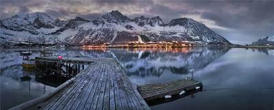 Зимним вечером. фьорды Норвегия