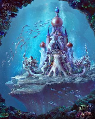 Дворец морской царицы фотоарт подводный замок