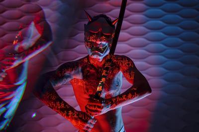 Ondeko студия портрет Япония самурай катана демон