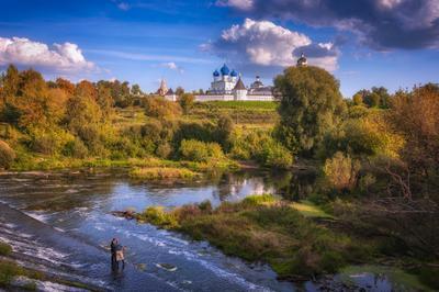 Сказочный день! Осень закат деревья храм небо православие россия