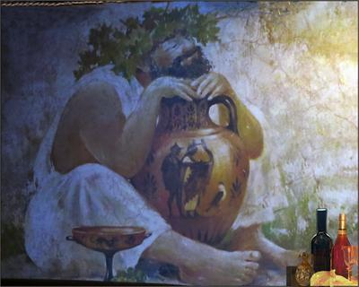 В интерьере греческого кафе Греция ваза вино кувшин интерьер