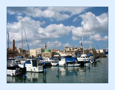 Порт Акко. Акварель. море порт Израиль