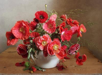 Маки Натюрморт маки букет цветов в вазе лето