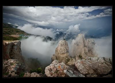 В облаках Крым Ай-Петри горы море облака