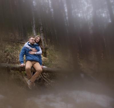 Туманное утро. Портрет пейзаж природа лес горы