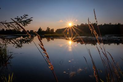 Отражения заката лето вечер река закат отражения