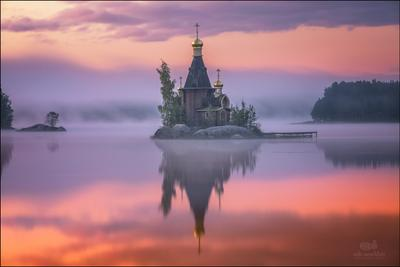Храм Апостола Андрея Первозванного на Вуоксе Россия Храм Вуокса рассвет