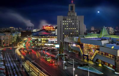 Городская панорама привокзальной площади беларусь город мир вечер фотосфера-минск