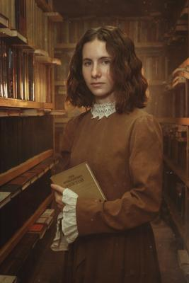 Bookworm портрет библиотека книги винтаж