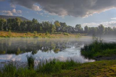 Прикосновение осени прикосновение осени пейзаж туман на пруду