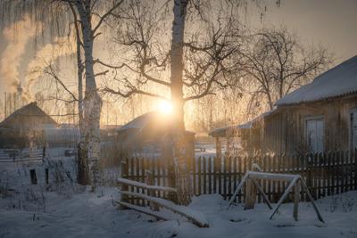 Деревенское утро деревня никифорово мороз утро зима солнце пейзаж пермь