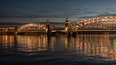 Большеохтинский мост Санкт-Петербург Большеохтинский мост белые ночи