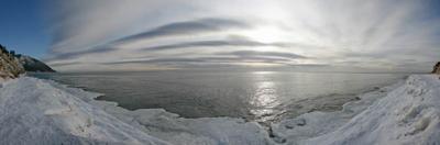 Январская 2..  вода льдинки небо облака озеро байкал берег