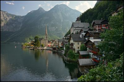 *** Австрия Гальштат Hallstatt Гальштатское озеро закат