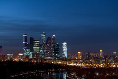 Вечер в Москве Москва-сити вечер воробьевы горы