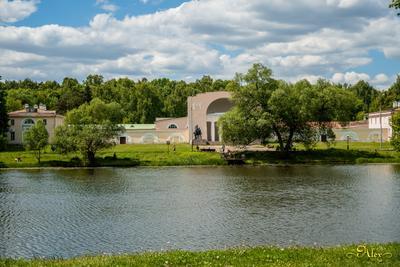 Конный двор природа пруд облака конный двор парк Кузьминки лето