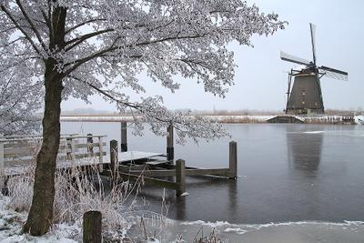 Голландские зимы 3 Kinderdijk Nederland