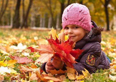 С грустью об ушедшем лете... осень, дети, листопад