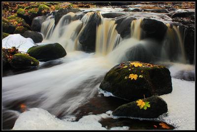 Дыхание осенних вод Латвия осень река водопад