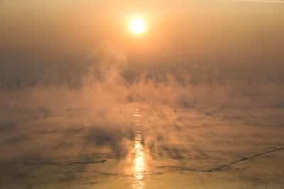 Туман над Енисеем туман река Енисей зимой