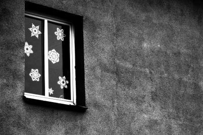 НГ стена окно снежинки