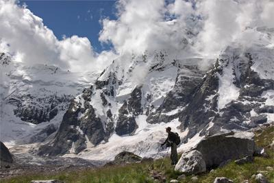 У Северной стены (Безенги) Горы,снег,туризм,Кавказ,Безенги