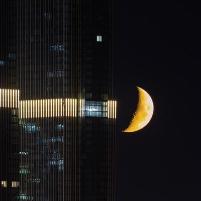 Moon in the city Москва Сити луна телеобьектив Россия Москвасити