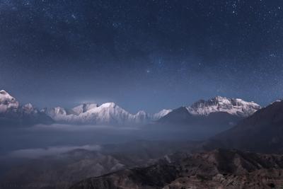 Ночь над Гималаями. himalaya mountains night sky