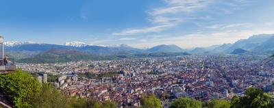 Гренобль, панорама старого города с видом на Альпы. Гренобль Франция Изер Sandro.Pavlov Альпы