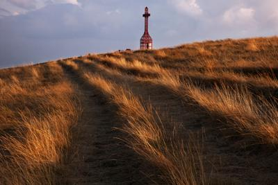 На закате поле трава пейзаж солнце закат