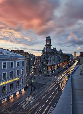 Закат на пяти углах Санкт Петербург 5углов Рубинштейна Закат Облака Вечер
