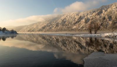 Вечернее отражение. Красноярск зима отражение