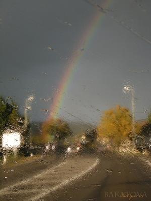 внезапная осень осень, тучи, дождь, радуга, дорога
