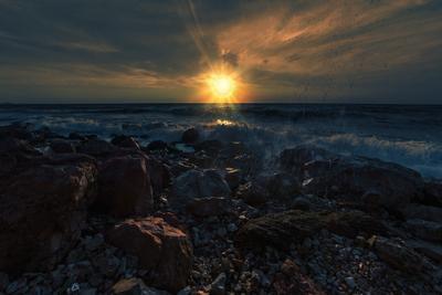 Вечер на море Прибой море пейзаж вечер закат крым
